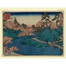 Utagawa Hiroshige: Waterfall River at Ôji (Ôji Takinogawa), from the series Famous Places in Edo (Edo meisho) - Museum of Fine Arts