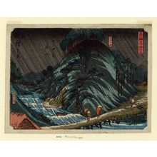 Utagawa Hiroshige: No. 49 - Tsuchiyama: Suzuka Mountains and Suzuka River (Suzukayama, Suzukagawa), from the series The Tôkaidô Road - The Fifty-three Stations (Tôkaidô - Gojûsan tsugi no uchi) - Museum of Fine Arts
