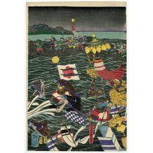 月岡芳年: Sasaki Moritsuna and His Troops Crossing the Inland Sea - ボストン美術館