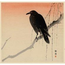 静湖: Crow on willow branch - ボストン美術館
