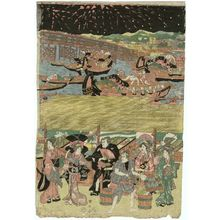 Utagawa Kuniyasu: Fireworks at Ryogoku Bridge - Museum of Fine Arts
