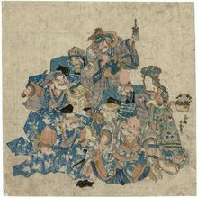 Utagawa Kuniyasu: The Seven Gods of Good Fortune in Costume for a Soga Brothers Play - Museum of Fine Arts