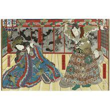 Yoshifuji: Actors Bandô Kamezô as Watônai's Mother and Arashi Kichisaburô III as Goshôgun Kanki (R), and Bandô Hikosaburô V as Kin Shôjo (L) - Museum of Fine Arts