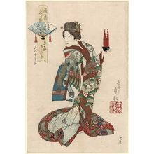 代長谷川貞信: Kinuha of Kyôki in The Feather Robe (Hagoromo), from the series Costume Parade of the Shimanouchi Quarter (Shimanouchi nerimono) - ボストン美術館