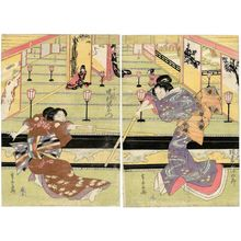 Urakusai Nagahide: Actors Bandô Mitsugorô III as Iwafuji (R) and Nakamura Utaemon III as Ohatsu (L) - Museum of Fine Arts