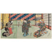 Shunbaisai Hokuei: Actors Nakamura Matsue as the courtesan Katsuragi (R), Bandô Jûtarô as Fuha Banzaemon (C), and Iwai Shijaku as the Attendant (Nakai) Omiya (L) - ボストン美術館