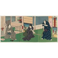 Utagawa Yoshitaki: Actors Arashi Rikaku II as Furuteya Hachirobei (R), Fujikawa Tomokichi III as Hachirobei's wife Otsuma (C), and Arashi Rikan III as Kaguya Yahei (L), in Hanamomiji Naniwa no Nagame - Museum of Fine Arts
