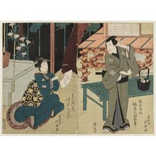 春好斎北洲: Actors Bandô Mitsugorô III as Tanizawa Naiki (R) and Arashi Koroku IV as the haikai poet Chiyo (L) - ボストン美術館