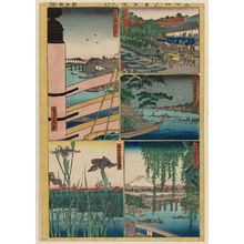 代長谷川貞信: Sheet 8 from the series Cutout Pictures of One Hundred Views of Edo (Meisho Edo hyakkei harimaze), copied from the Hundred Views of Edo (Meisho Edo hyakkei) by Hiroshige I - ボストン美術館