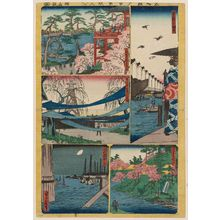 代長谷川貞信: Sheet 7 from the series Cutout Pictures of One Hundred Views of Edo (Meisho Edo hyakkei harimaze), copied from the Hundred Views of Edo (Meisho Edo hyakkei) by Hiroshige I - ボストン美術館