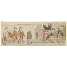鳥居清長: The Courtesan Hanaôgi Arriving at a Teahouse - ボストン美術館