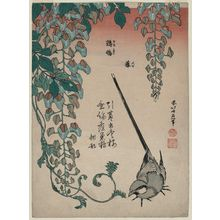 Katsushika Hokusai: Wisteria and Wagtail (Fuji, sekirei), from an untitled series known as Small Flowers - Museum of Fine Arts
