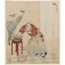 柳川重信: Dongfang Shuo (Tôbôsaku) Stealing the Peaches of Immortality, from the series A Set of Five Examples of Longevity (Kotobuki goban no uchi) - ボストン美術館