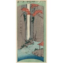 Utagawa Hiroshige: Waterfall River at Ôji (Ôji Taki-no-kawa), from the series Cutout Pictures of Famous Places in Edo (Edo meisho harimaze zue) - Museum of Fine Arts