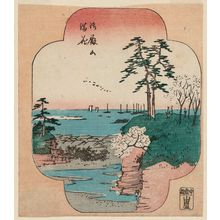 Utagawa Hiroshige: Cherry Blossoms in Full Bloom at Goten-yama (Goten-yama manka), from the series Cutout Pictures of Famous Places in Edo (Edo meisho harimaze zue) - Museum of Fine Arts