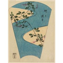 Utagawa Hiroshige: The Temple of Bush Clover at Oshiage (Oshiage Hagidera), from the series Cutout Pictures of Famous Places in Edo (Edo meisho harimaze zue) - Museum of Fine Arts