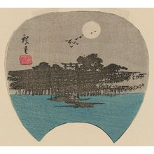 Utagawa Hiroshige: Mimeguri Shrine in Moonlight, cut from an untitled harimaze sheet - Museum of Fine Arts
