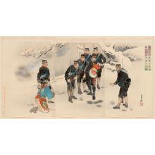 Ogata Gekko: Captain Higuchi, in the Midst of the Attack, Personally Holds a Lost Chinese Child (Higuchi taii shingeki no toji mizukara Seishi no ishi o hôji suru no zu) - Museum of Fine Arts