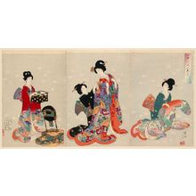 豊原周延: Changing Clothes (Omeshikae), from the series Chiyoda Inner Palace (Chiyoda no Ôoku) - ボストン美術館