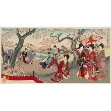 Toyohara Chikanobu: Cherry-blossom Viewing (On-hanami), from the series Chiyoda Inner Palace (Chiyoda no Ôoku) - Museum of Fine Arts