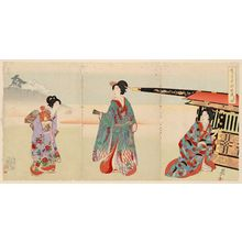 豊原周延: Excursion to the Hills (Go-yûsan), from the series Chiyoda Inner Palace (Chiyoda no Ôoku) - ボストン美術館