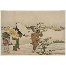 Katsukawa Shunko: Walking in Snow on the Riverbank by Mimeguri Shrine - Museum of Fine Arts