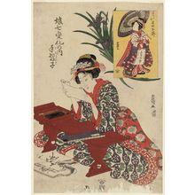 Utagawa Toyokuni I: Girl at Writing Practice (Tenaraiko), and Actor Iwai Hanshirô as a Calligraphy Pupil (Tenaraiko Iwai Hanshirô), from the series Girls in a Dance of Seven Changes (Musume shichi henge no uchi) - Museum of Fine Arts
