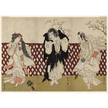 Katsukawa Shunsho: Actors Nakamura Nakazô I as Sakon-gitsune, the Fox of Shiinokizawa (R), Ichikawa Danzô IV as Mongaku (C), and Nakamura Rikô I as Chitose (L) - Museum of Fine Arts