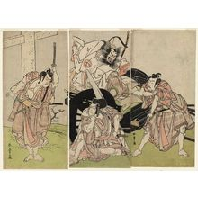 Katsukawa Shunsho: Actors Ichikawa Yaozô II as Sakuramaru (R), Nakajima Mihoemon II as Fujiwara Shihei and Ichikawa Ebizô III as Matsuômaru (C), and Ichimura Uzaemon IX as Umeômaru (L) - Museum of Fine Arts