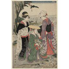Utagawa Toyokuni I: The Tenth Month, a Triptych (Jûgatsu, sanmaitsuzuki), from the series Twelve Months by Two Artists, Toyokuni and Toyohiro (Toyokuni Toyohiro ryôga jûnikô) - Museum of Fine Arts