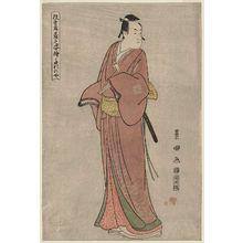 Utagawa Toyokuni I: Takinoya (Actor Ichikawa Monnosuke II as Soga no Jûrô), from the series Portraits of Actors on Stage (Yakusha butai no sugata-e) - Museum of Fine Arts