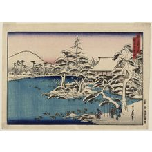 代長谷川貞信: Snowy Dawn at Ryôan-ji Temple (Ryôan-ji yuki [no] akebono), from the series Famous Places in the Capital (Miyako meisho no uchi) - ボストン美術館