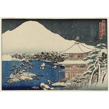代長谷川貞信: Snow Scene at the Temple of the Golden Pavilion (Kinkaku-ji sekkei), from the series Famous Places in the Capital (Miyako meisho no uchi) - ボストン美術館