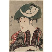 Utagawa Kunimasa: Actor Iwai Kumesaburô as Sakuramaru's Wife Yae (?) - Museum of Fine Arts