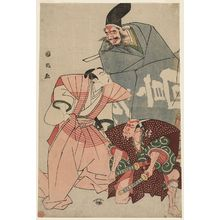 Utagawa Kunimasa: Memorial Portrait of Actor Ichikawa Danjûrô VI as Momonoi Wakananosuke, with Nakajima Kanzaemon III as Kô no Moronao/King Enma and Ogino Tôzô as Bannai/a Demon - Museum of Fine Arts