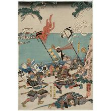 Utagawa Kuniyoshi: The Battle betwen the Minamoto and the Taira at Ichinotani in Settsu Province (Sesshû Ichinotani Genpei kassen no zu) - Museum of Fine Arts