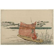 Unknown: Fisherman in a Boat with a Scoop Net Passing Mimeguri Inari Shrine - Museum of Fine Arts