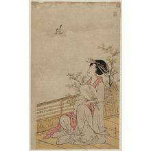 歌川豊広: Woman Watching a Cuckoo - ボストン美術館