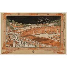 歌川豊春: No. 3, View of Ryôgoku Bridge (Ryôgoku no zu, san), from the series Eight Famous Sites in Edo (Edo meisho hachigaseki) - ボストン美術館