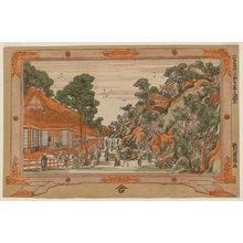 歌川豊春: No. 5, View of Nipppori (Nippori no zu, go), from the series Eight Famous Sites in Edo (Edo meisho hachigaseki) - ボストン美術館