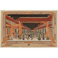 Utagawa Toyoharu: No. 6, View of the New Yoshiwara (Shin Yoshiwara no zu, roku), from the series Eight Famous Sites in Edo (Edo meisho hachigaseki) - Museum of Fine Arts