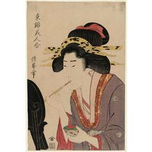 Torii Kiyomine: Woman Painting Her Lips, from the series Comparison of Beauties in Eastern Brocade (Azuma nishiki bijin awase) - Museum of Fine Arts