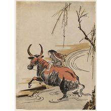 歌川豊広: Boy Riding a Water Buffalo across a Stream - ボストン美術館