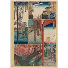 代長谷川貞信: Sheet 9 from the series Cutout Pictures of One Hundred Views of Edo (Meisho Edo hyakkei harimaze), copied from the Hundred Views of Edo (Meisho Edo hyakkei) by Hiroshige I - ボストン美術館