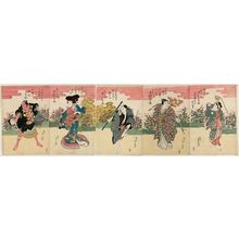 Toyokawa Yoshikuni: Dance Acts from Renowned Plays, a Set of Five (Onagori kyôgen shosagoto gomai no uchi): Actor Nakamura Shikan II as, from right, the fox Kuzunoha, the fox Kanpei, a babysitter, a playboy, and a palanquin bearer - Museum of Fine Arts