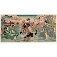 Hasegawa Sadanobu I: Imaginary Scene of Actors Matched with Chickens, a Triptych (Yakusha mitate tori awase, sanmai tsuzuki): Nakamura Utaemon as Yagi Minorinosuke Toshiyoshi (R), Nakamura Tomijûrô as Toyotoshi-hime (C), and Arashi Rikan as Shinkoku Ôinosuke Yasunari (L) - Museum of Fine Arts