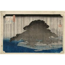歌川広重: Night Rain at Karasaki (Karasaki yau), from the series Eight Views of Ômi (Ômi hakkei no uchi) - ボストン美術館