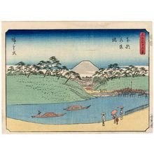 歌川広重: Suidô-bashi Bridge in Edo (Tôto Suidôbashi), from the series Thirty-six Views of Mount Fuji (Fuji sanjûrokkei) - ボストン美術館
