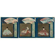 Totoya Hokkei: The Three Famous Scenic Views (Sankei no uchi): No. 1, Matsushima: Shunzei (R), No. 2, Amanohashidate: Koshikibu no Naishi (C), and No. 3, Miyajima: Takafusa (L) - Museum of Fine Arts
