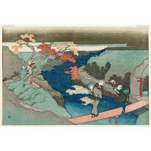 魚屋北渓: Maple Leaves at the Waterfall River (Takinogawa momiji), from the album The Evergreen Waterfall (Tokiwa no taki) - ボストン美術館